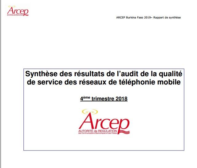 Synthèse des résultats de l'audit de la qualité de service des réseaux de téléphonie mobile